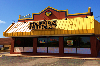 Golden Chick storefront.  Your local Golden Chick fast food restaurant in Pflugerville, Texas