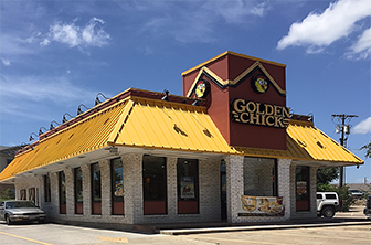Golden Chick storefront.  Your local Golden Chick fast food restaurant in Harker Heights, Texas