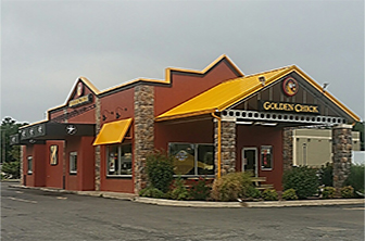 Golden Chick storefront.  Your local Golden Chick fast food restaurant in Enid, Oklahoma