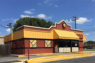 Golden Chick storefront.  Your local Golden Chick fast food restaurant in Austin, Texas