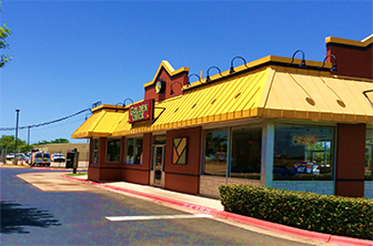 Golden Chick storefront.  Your local Golden Chick fast food restaurant in Leander, Texas