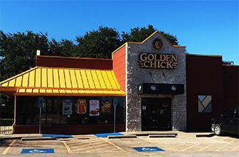 Golden Chick storefront.  Your local Golden Chick fast food restaurant in Duncanville, Texas