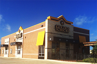 Golden Chick storefront.  Your local Golden Chick fast food restaurant in Cotulla, Texas