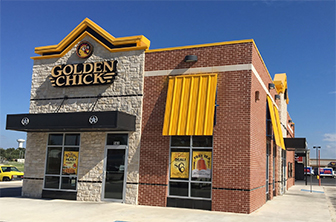 Golden Chick storefront.  Your local Golden Chick fast food restaurant in Brownwood, Texas