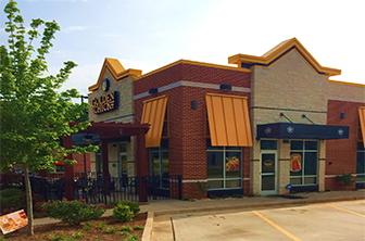 Golden Chick storefront.  Your local Golden Chick fast food restaurant in Watkinsville, Georgia