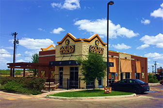Golden Chick storefront.  Your local Golden Chick fast food restaurant in San Antonio, Texas