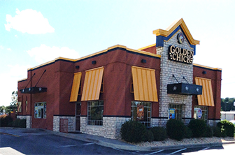 Golden Chick storefront.  Your local Golden Chick fast food restaurant in Manning, South Carolina