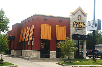 Golden Chick storefront.  Your local Golden Chick fast food restaurant in Oklahoma City, Oklahoma