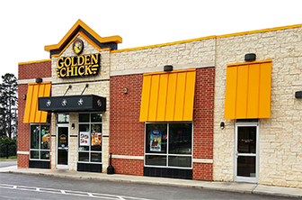 Golden Chick storefront.  Your local Golden Chick fast food restaurant in Greenville, South Carolina