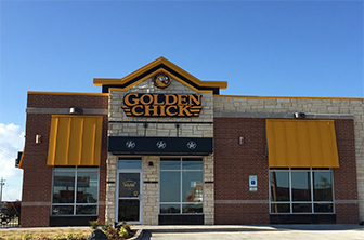 Golden Chick storefront.  Your local Golden Chick fast food restaurant in Ponca City, Oklahoma