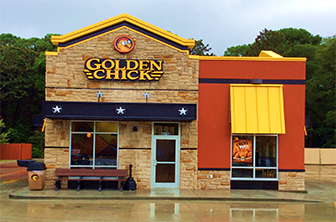 Golden Chick storefront.  Your local Golden Chick fast food restaurant in Panama City, Florida
