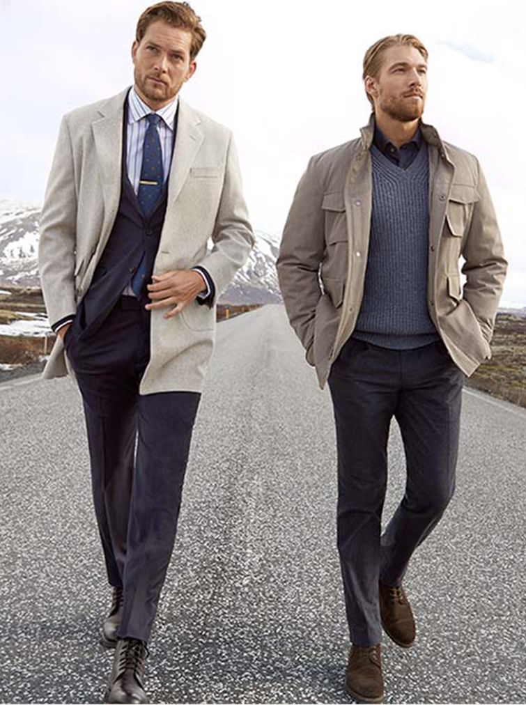 Two men modelling Golden Fleece collection