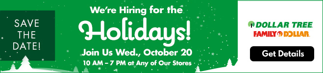 We're hiring for the holidays! Join Us Wed, October 20 - 10 am - 7 pm at any of our stores.