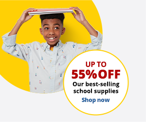 Up to 55% off our best-selling school supplies. Shop now