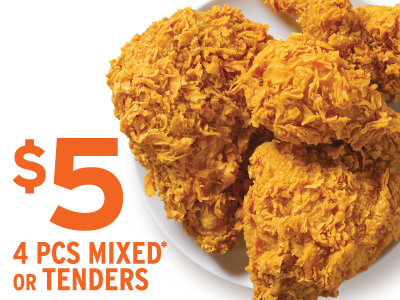 4 pieces of mixed or tenders for only $5