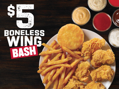 Includes 6 Boneless Wings Reg Side, Biscuit & Sauce for $5.